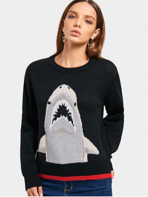 Kontrastierender Pullover mit Rundhalsausschnitt - Schwarz Eine Größe Mobile