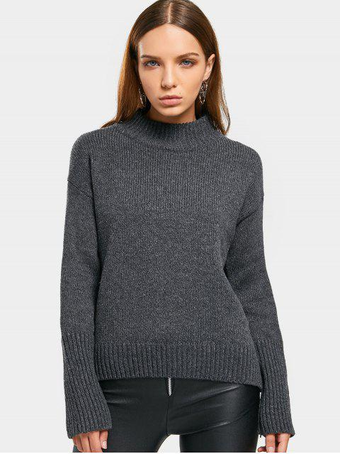 Pullover mit Langarm und Mock Neck - Grau Eine Größe Mobile