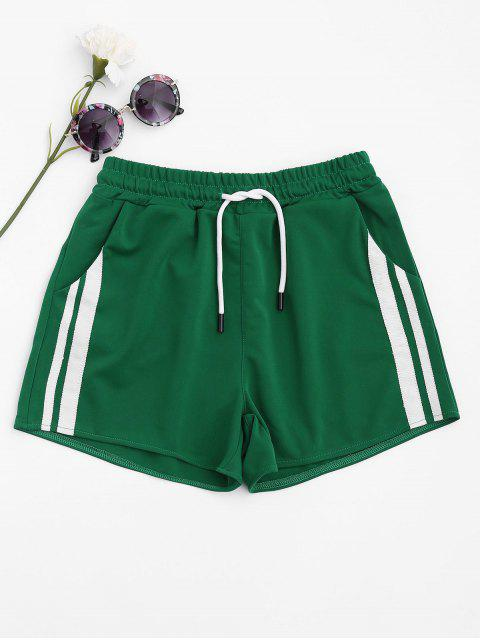 latest Side Striped Sports Shorts - GREEN L Mobile