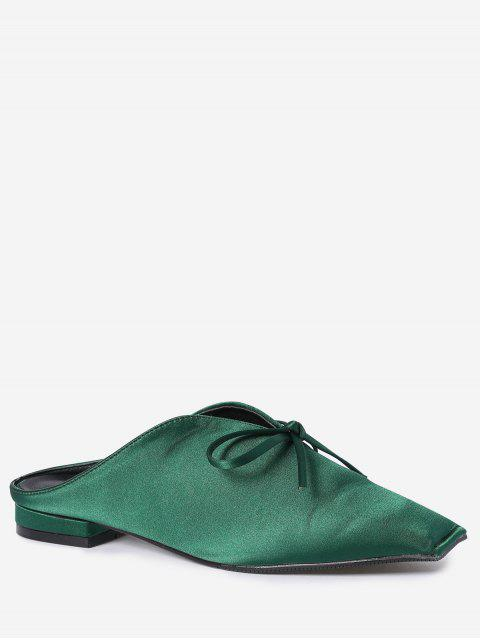 outfit Square Toe Bowknot Satin Slippers - GREEN 37 Mobile