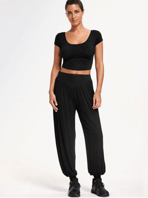 hot Cropped Top with Bloomer Pants Gym Suit - BLACK L Mobile