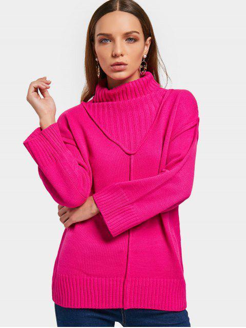 Pullover mit Drop Schulter und Rollkragen - Rosenrot Eine Größe Mobile