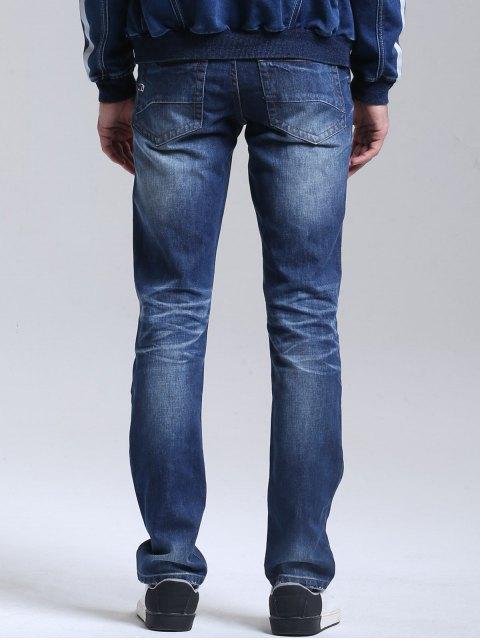 jeans mit straight bein und rei verschluss blau jeans 32. Black Bedroom Furniture Sets. Home Design Ideas