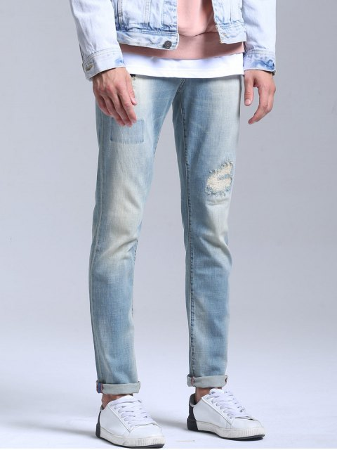 new Stretch Patched Faded Jeans - LIGHT BLUE 38 Mobile