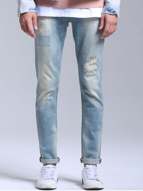 hot Stretch Patched Faded Jeans - LIGHT BLUE 36 Mobile