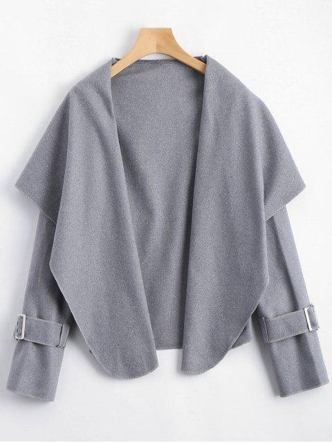 fashion Shawl Collar Belted Cuff Coat - GRAY S Mobile