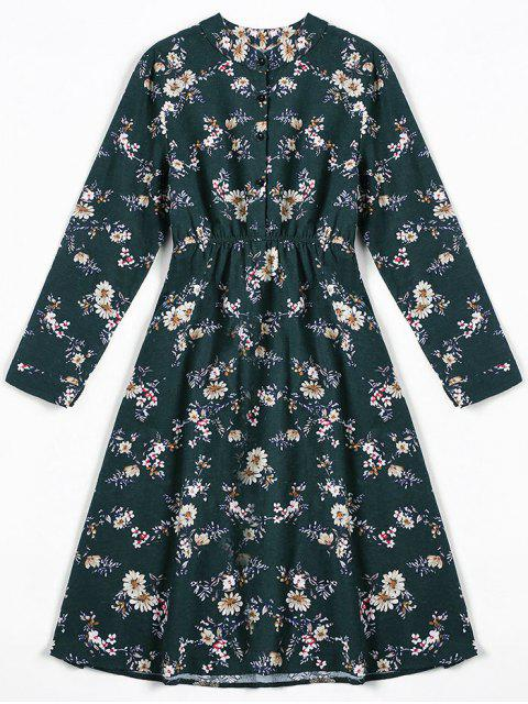 hot Tiny Floral Fit and Flare Dress - BLACKISH GREEN S Mobile