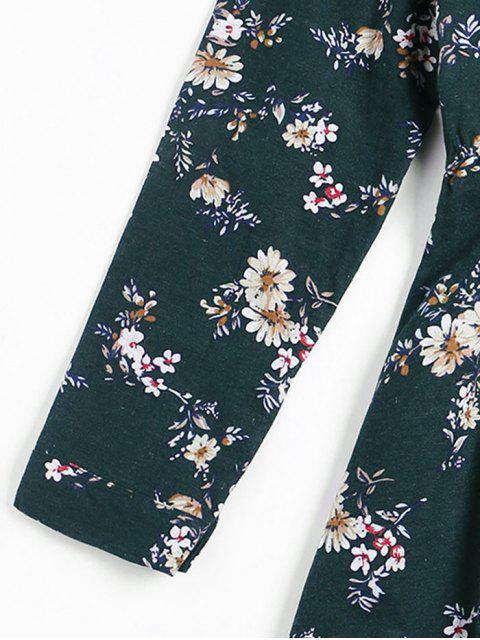 Vestido con flores y flores - Verde negruzco XL Mobile