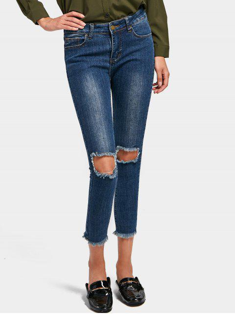 best Ninth Distressed Skinny Pencil Jeans - DENIM BLUE L Mobile