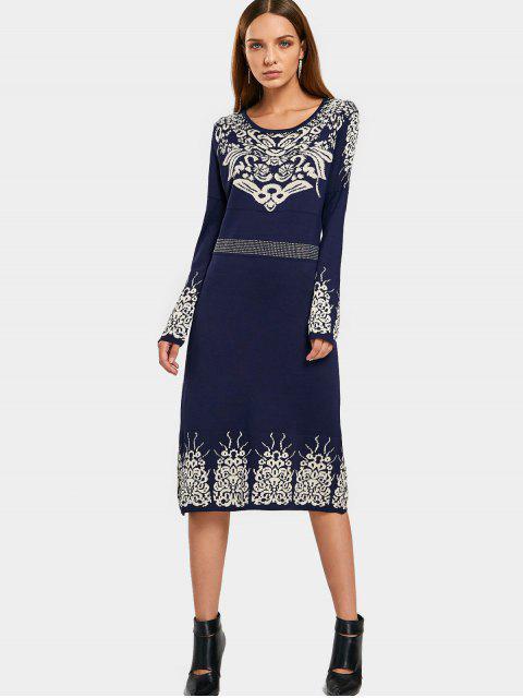 Robe de demoiselle en jacquard - Bleu Violet TAILLE MOYENNE Mobile