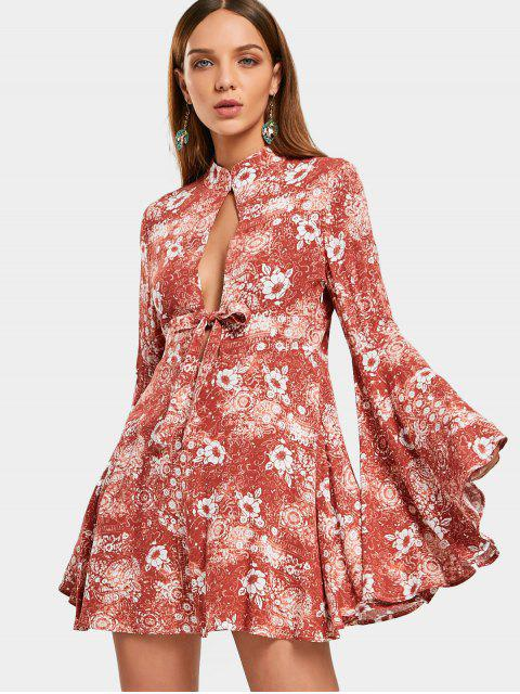 fashion Flare Sleeve Floral Hollow Out Mini Dress - ORANGEPINK S Mobile