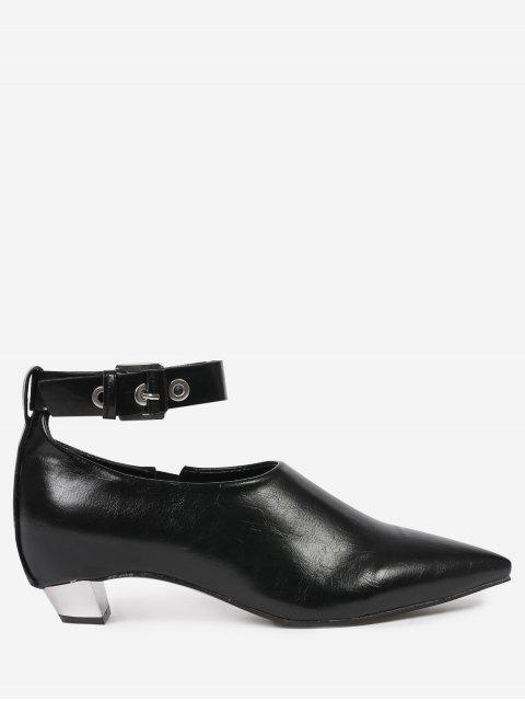 Flache Schuhe mit Knöchelriemen und Spitzen Zehen - Schwarz 39 Mobile