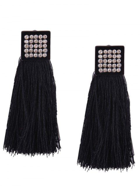 Pendientes geométricos de la borla Rhinestoned - Negro  Mobile