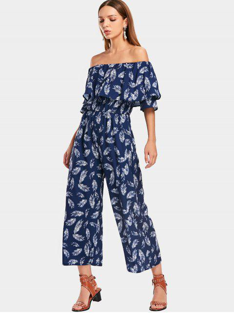 best Overlap Feather Off Shoulder Jumpsuit - PURPLISH BLUE M Mobile