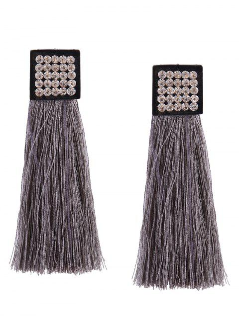 Rhinestoned Geometric Tassel Earrings - Gris  Mobile