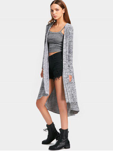 Capucha Heathered Asymmetrical Knit Cardigan - Gris L Mobile