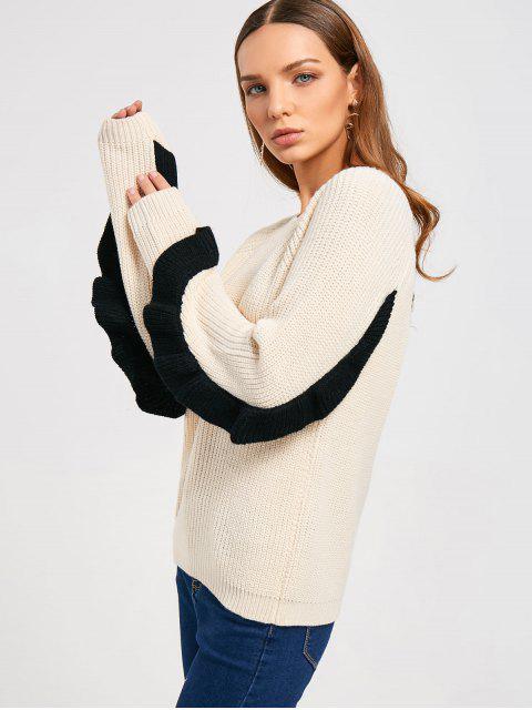 Rüschen zurück Half Zip Sweater - Warmweiß Eine Größe Mobile