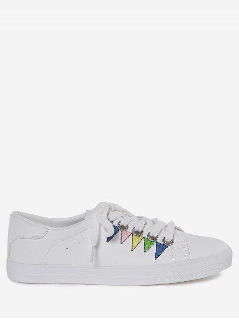 women Stitching Geometric Multicolor Sneakers - WHITE 37 Mobile
