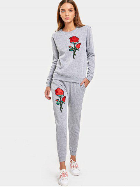 fancy Rose Embroidered Patches Sweatshirt and Casual Drawstring Pants - GRAY XL Mobile