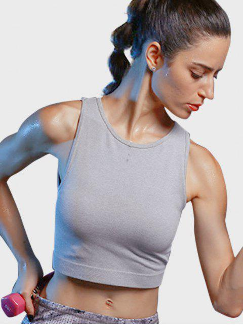 women Cropped Ribbed Sports Tank Top - FEATHER GRAY M Mobile