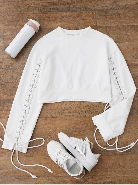 shops Cropped Lace Up Sleeve Sweatshirt - WHITE M Mobile