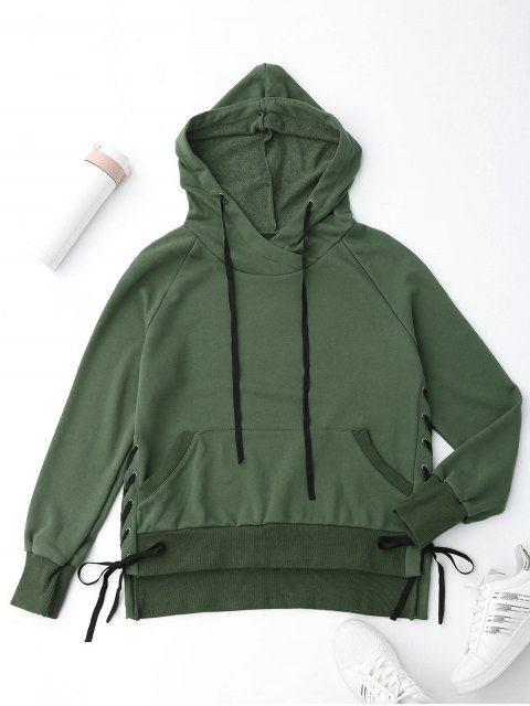 fancy High Low Side Lace Up Hoodie - GREEN L Mobile