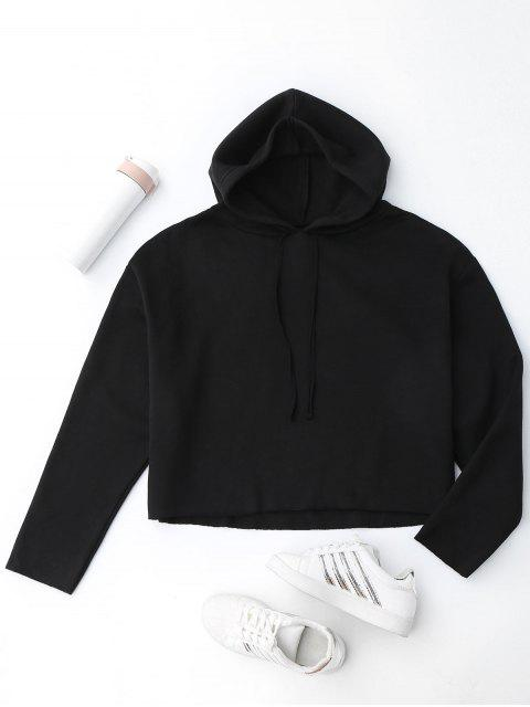 Fleeced Cropped sudadera con capucha - Negro M Mobile
