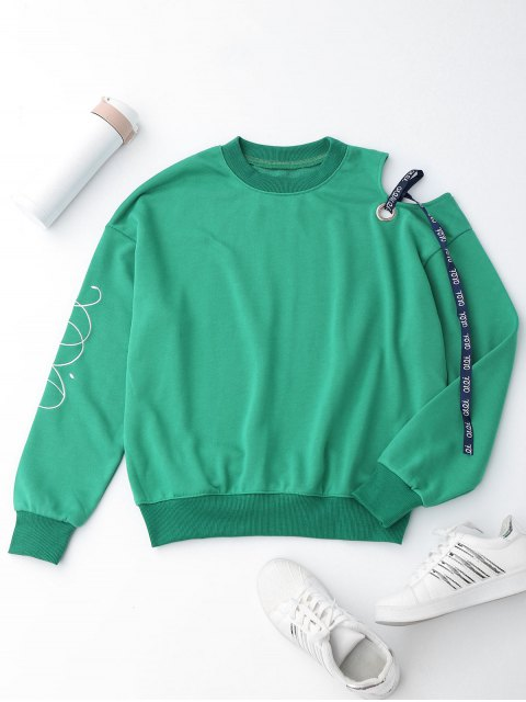 women's Embroidered Cold Shoulder Ribbon Sweatshirt - GREEN M Mobile