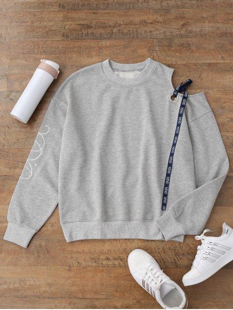 Sweatshirt à ruban à bandoulière froide - gris S Mobile