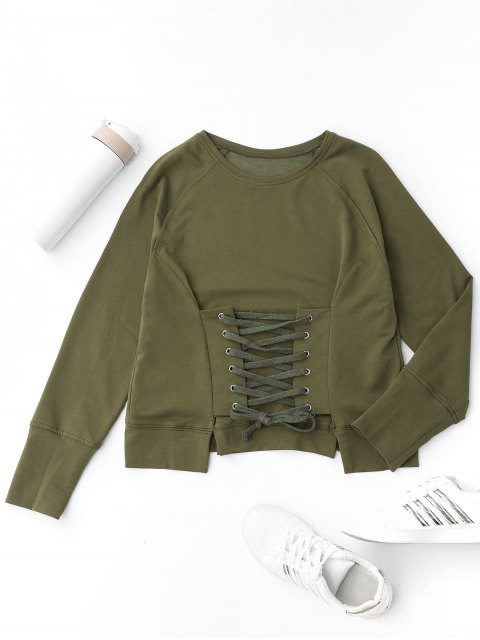 hot Front Lace Up Pullover Sweatshirt - ARMY GREEN M Mobile