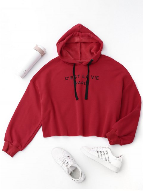 shop Cropped Letter Fleeced Hoodie - RED M Mobile