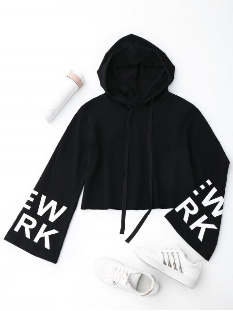 women's New York Cropped Hoodie - BLACK S Mobile