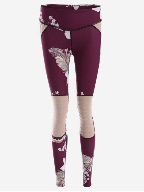 Leggings texturizados de la yoga de la impresión de la flor - Rojo purpúreo S Mobile