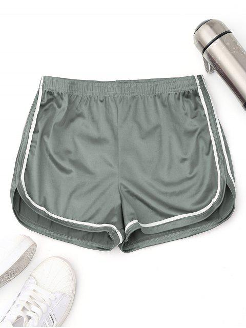trendy Elastic Waist Satin Sports Dolphin Shorts - SAGE GREEN L Mobile