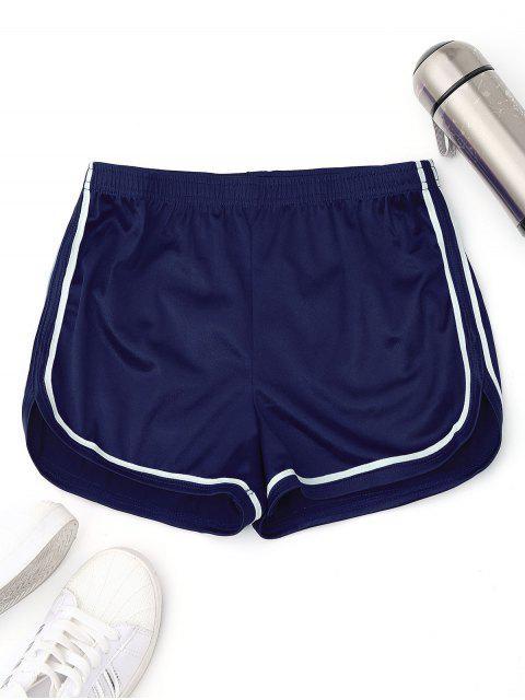 fancy Elastic Waist Satin Sports Dolphin Shorts - BLUE L Mobile