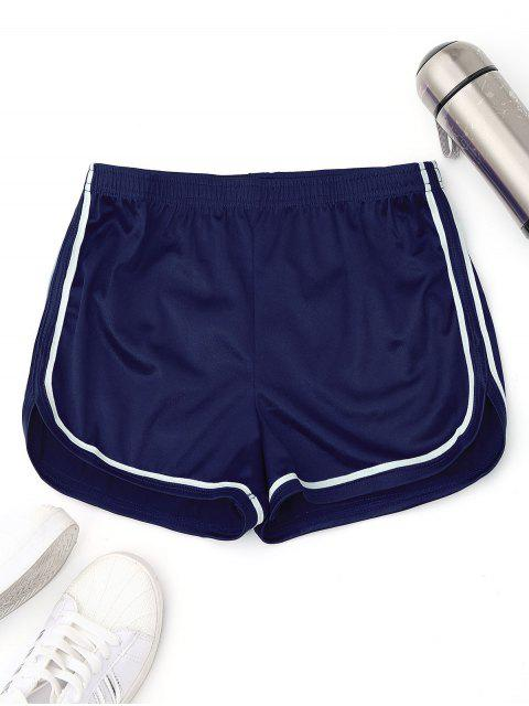 sale Elastic Waist Satin Sports Dolphin Shorts - BLUE S Mobile