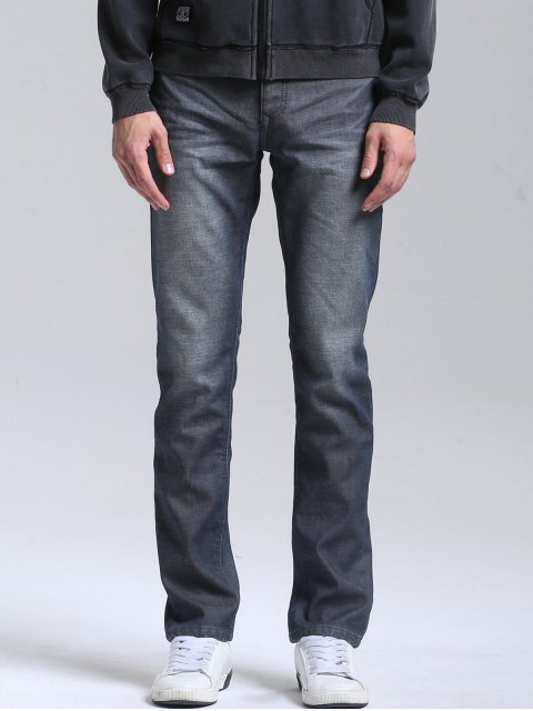 affordable Straight Slim Fit Jeans - BLUE 38 Mobile