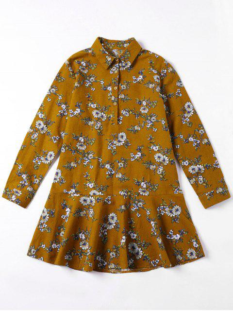 online Flounced Tiny Floral Mini Shirt Dress - YELLOW OCHER M Mobile