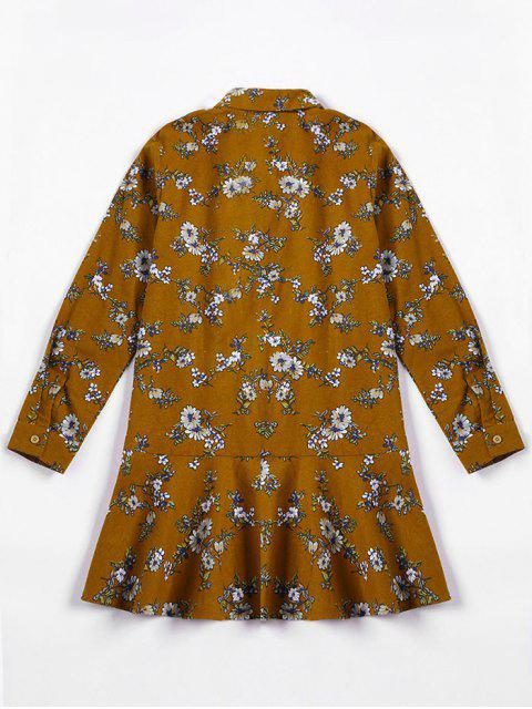 hot Flounced Tiny Floral Mini Shirt Dress - YELLOW OCHER XL Mobile