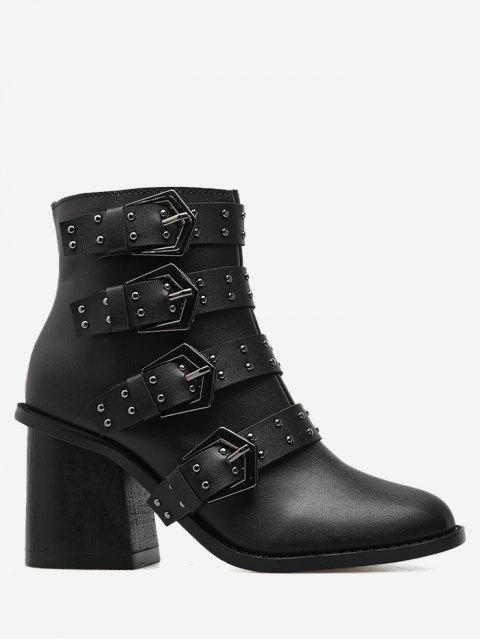 shop Block Heel Buckle Straps Ankle Boots - BLACK 37 Mobile