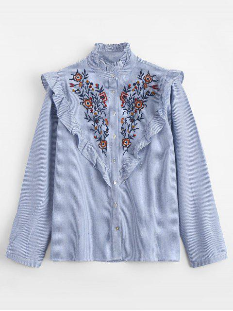 buy Ruffles Embroidered Stripes Shirt - STRIPE L Mobile