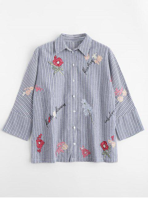 womens Floral Embroidered Button Down Stripes Shirt - STRIPE L Mobile