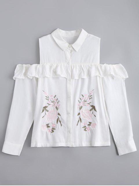 lady Ruffles Embroidered Cold Shoulder Shirt - WHITE L Mobile