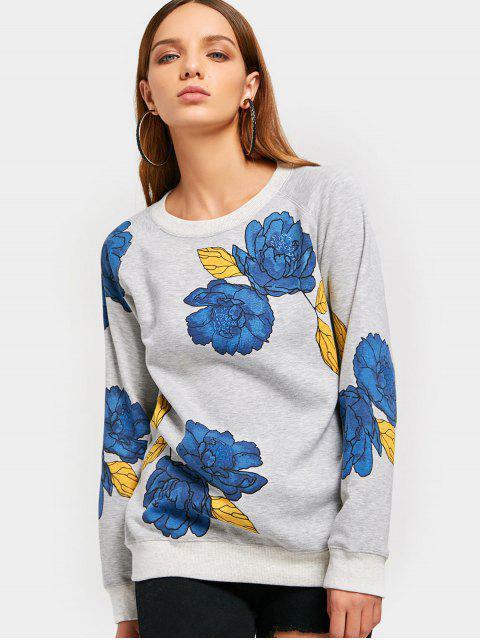 Raglan Hülsen Blumen Grafik Sweatshirt - Grau M Mobile