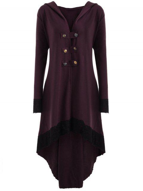 Manteau Grande Taille à Lacets et Capuche Haut-Bas - Rouge vineux  4XL Mobile
