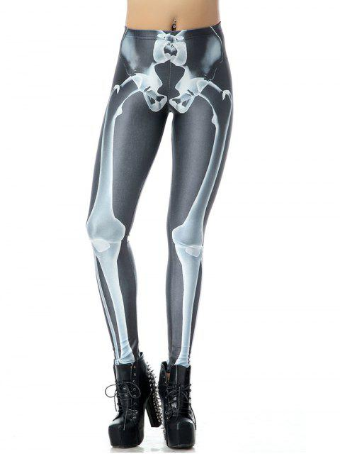 women Halloween Bone 3D Print Leggings - BLACK L Mobile