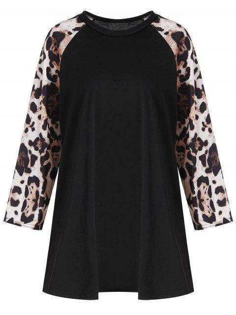 outfit Plus Size Leopard Raglan Sleeve Tee - BLACK 5XL Mobile
