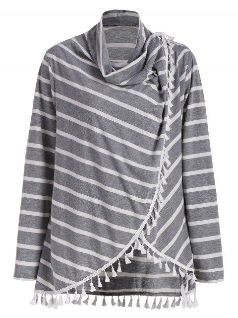trendy Plus Size Striped Tassel Tee - GRAY 5XL Mobile