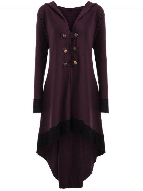 online Lace-up Plus Size Hooded High Low Coat - WINE RED XL Mobile