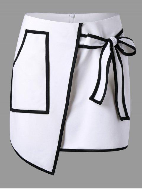 Falda asimétrica de la sobrecubierta del bolsillo del remiendo - Blanco 2XL Mobile